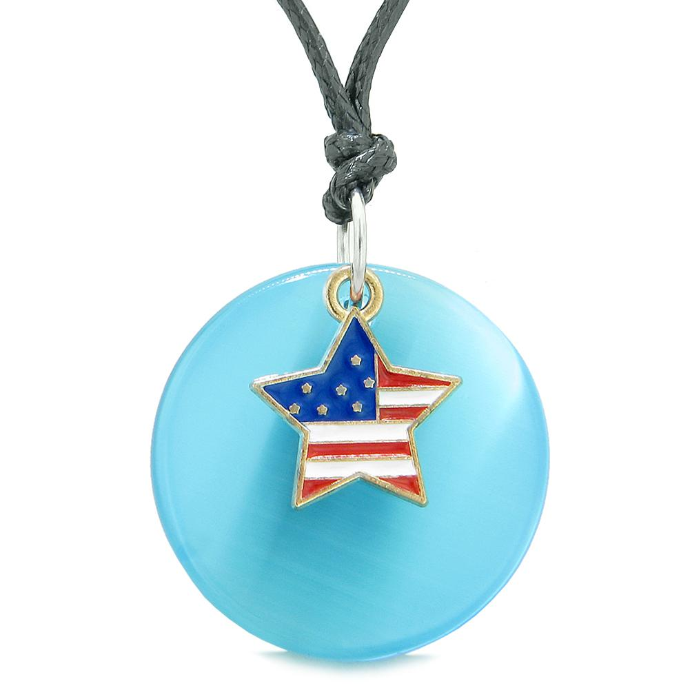 Proud American Flag Spirit Super Star Charm Blue Simulated Cats Eye Spiritual Amulet Adjustable Necklace