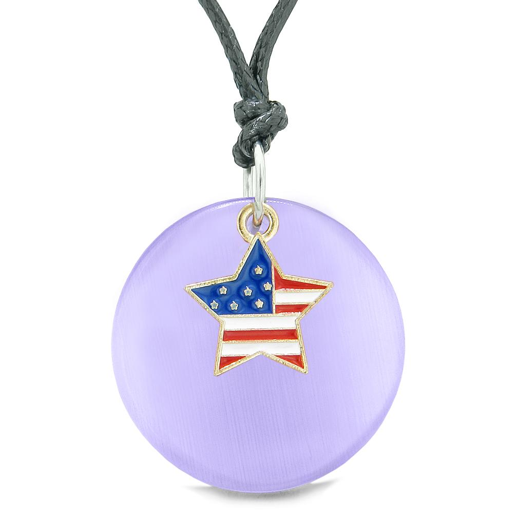 Proud American Flag Spirit Super Star Charm Purple Simulated Cats Eye Spirit Amulet Adjustable Necklace