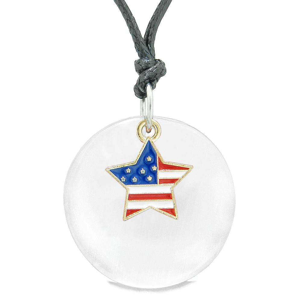 Proud American Flag Spirit Super Star Charm White Simulated Cats Eye Spiritual Amulet Adjustable Necklace