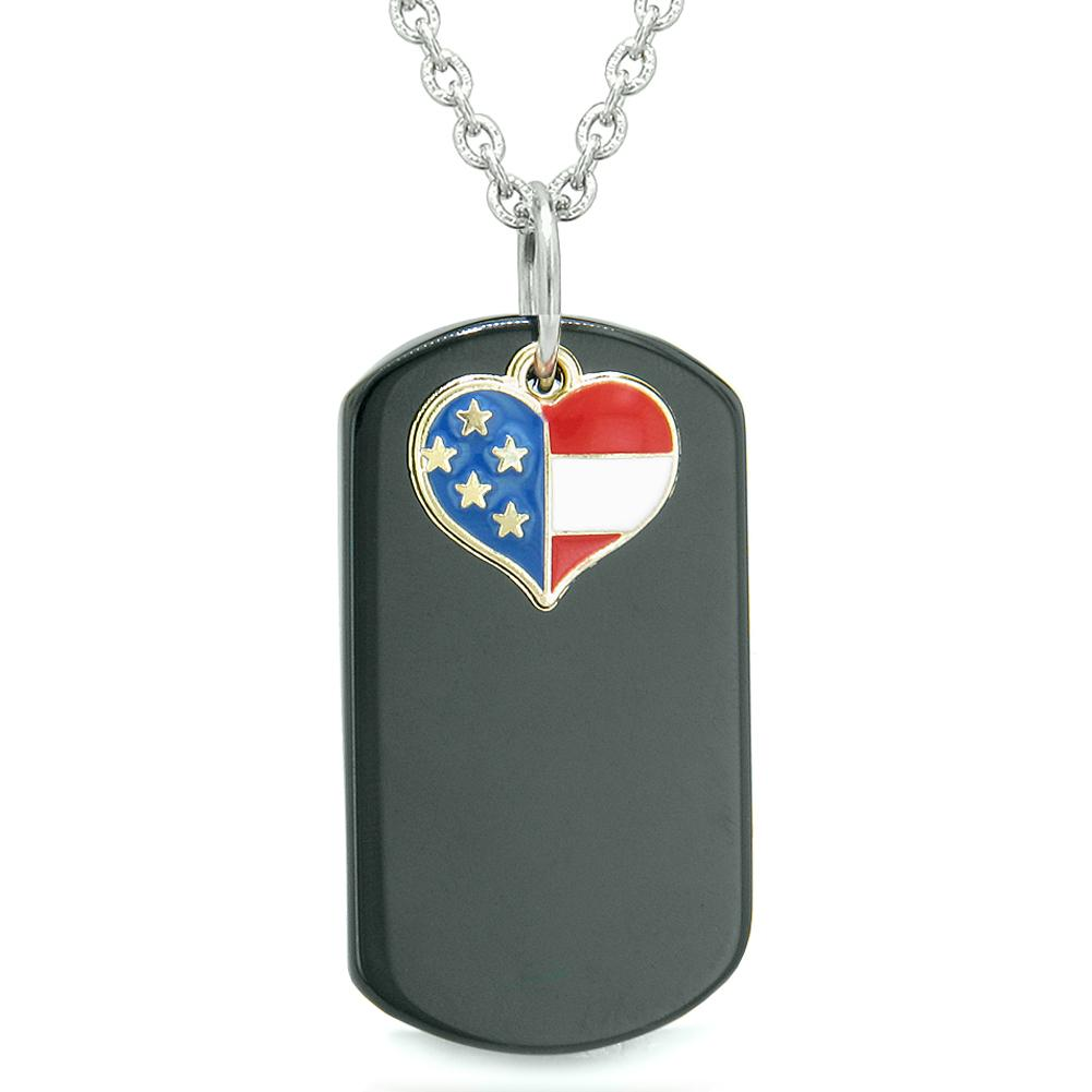 Proud American Flag Spirit Super Heart Dog Tag Lucky Charm Black Agate Protection Amulet 22 Inch Necklace