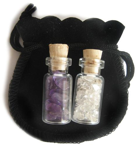 Amethyst And Crystals Talisman Bottles