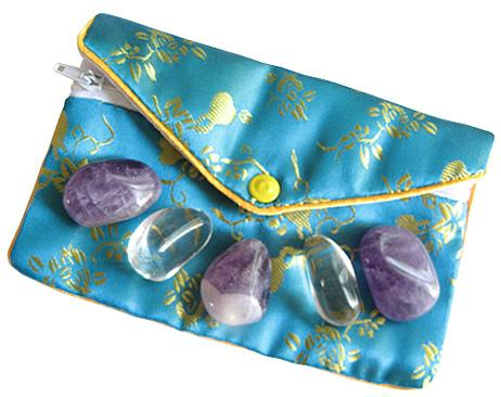 Travel Protection Talisman Pouch In Amethyst And Crystals