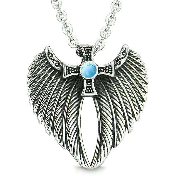 Angel Wings Celtic Viking Cross Magic Powers Amulet Simulated Turquoise Pendant 22 inch Necklace