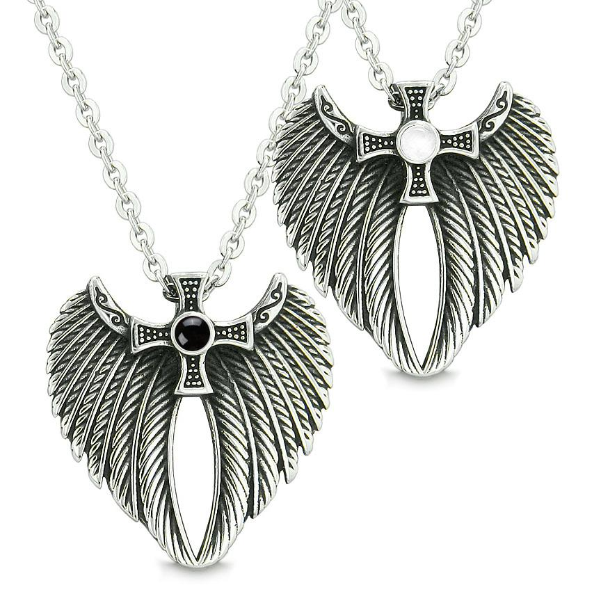 Angel Wings Celtic Cross Love Couple Best Friends Simulated Onyx Simulated White Cats Eye Necklaces