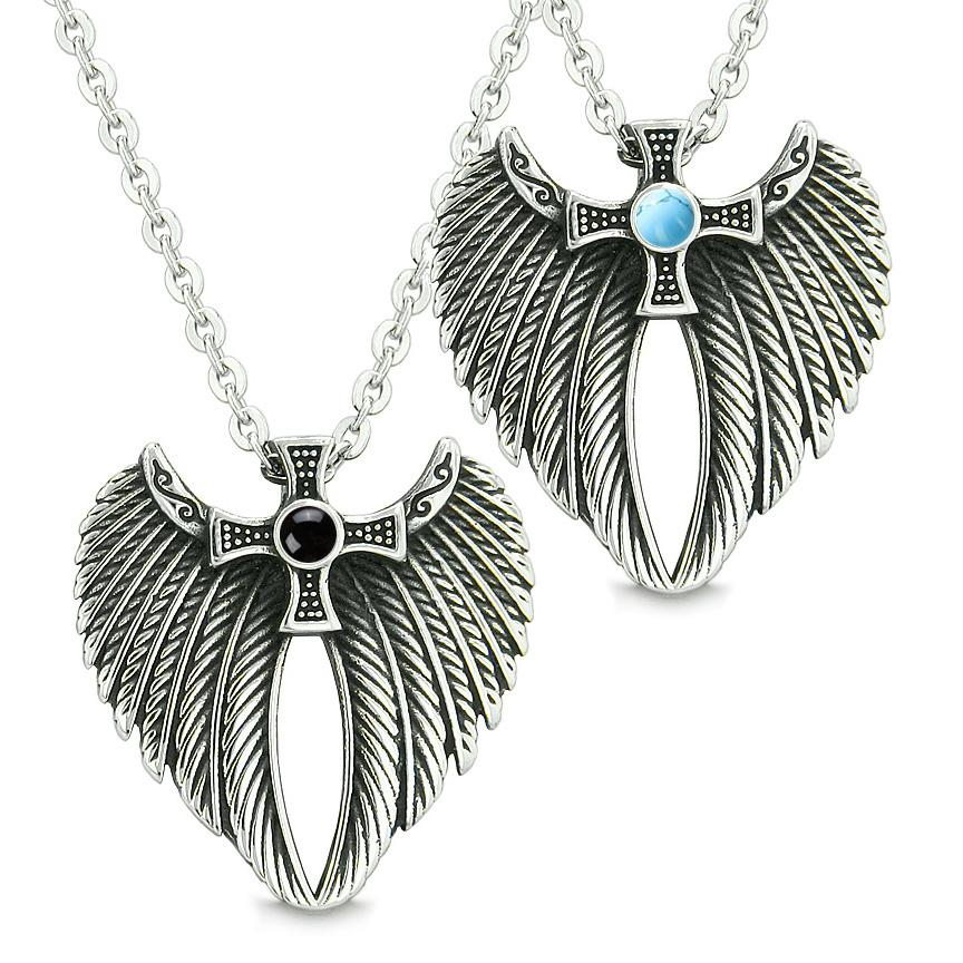 Angel Wings Celtic Cross Love Couple or Best Friends Simulated Onyx Simulated Turquoise Necklaces