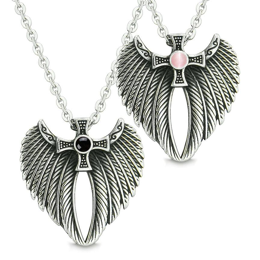 Angel Wings Celtic Cross Love Couple Best Friends Simulated Onyx Simulated Pink Cats Eye Necklaces