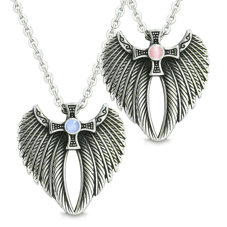 Angel Wings Celtic Magic Cross Love Couple or Best Friends Blue Pink Simulated Cats Eye Necklaces