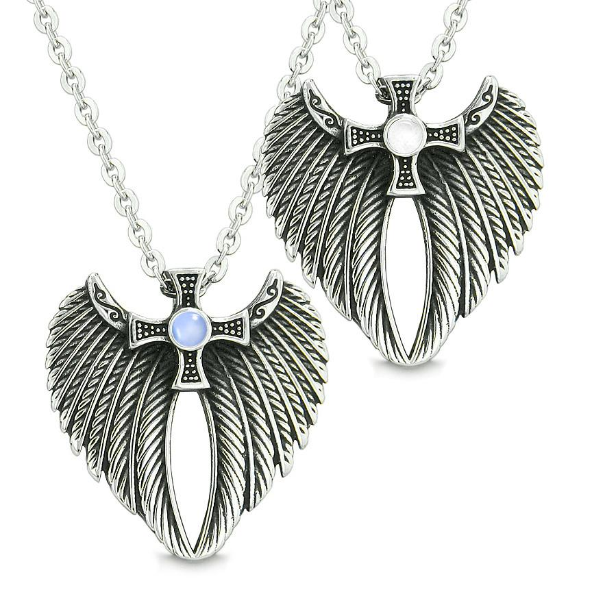 Angel Wings Celtic Magic Cross Love Couple or Best Friends Blue White Simulated Cats Eye Necklaces