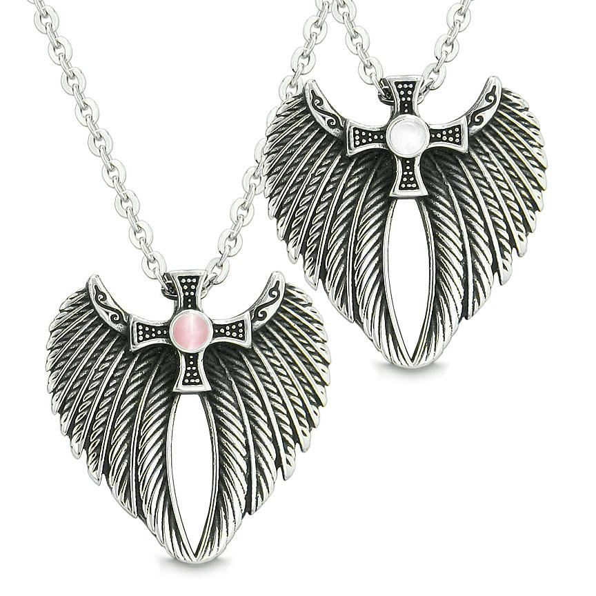 Angel Wings Celtic Magic Cross Love Couple or Best Friends Pink White Simulated Cats Eye Necklaces