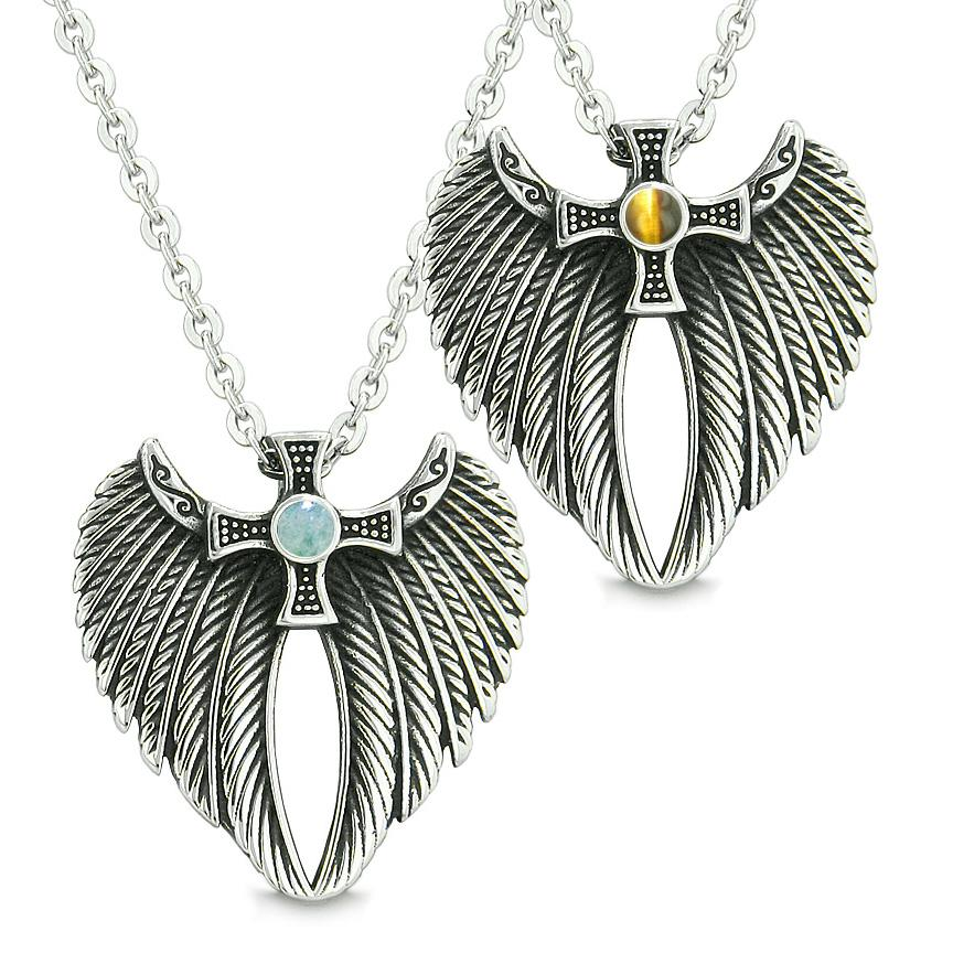 Angel Wings Celtic Magic Cross Love Couple or Best Friends Green Quartz and Tiger Eye Necklaces