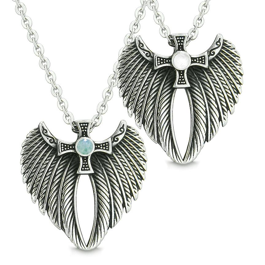 Angel Wings Celtic Magic Cross Love Couple Best Friends Green Quartz Simulated Cats Eye Necklaces