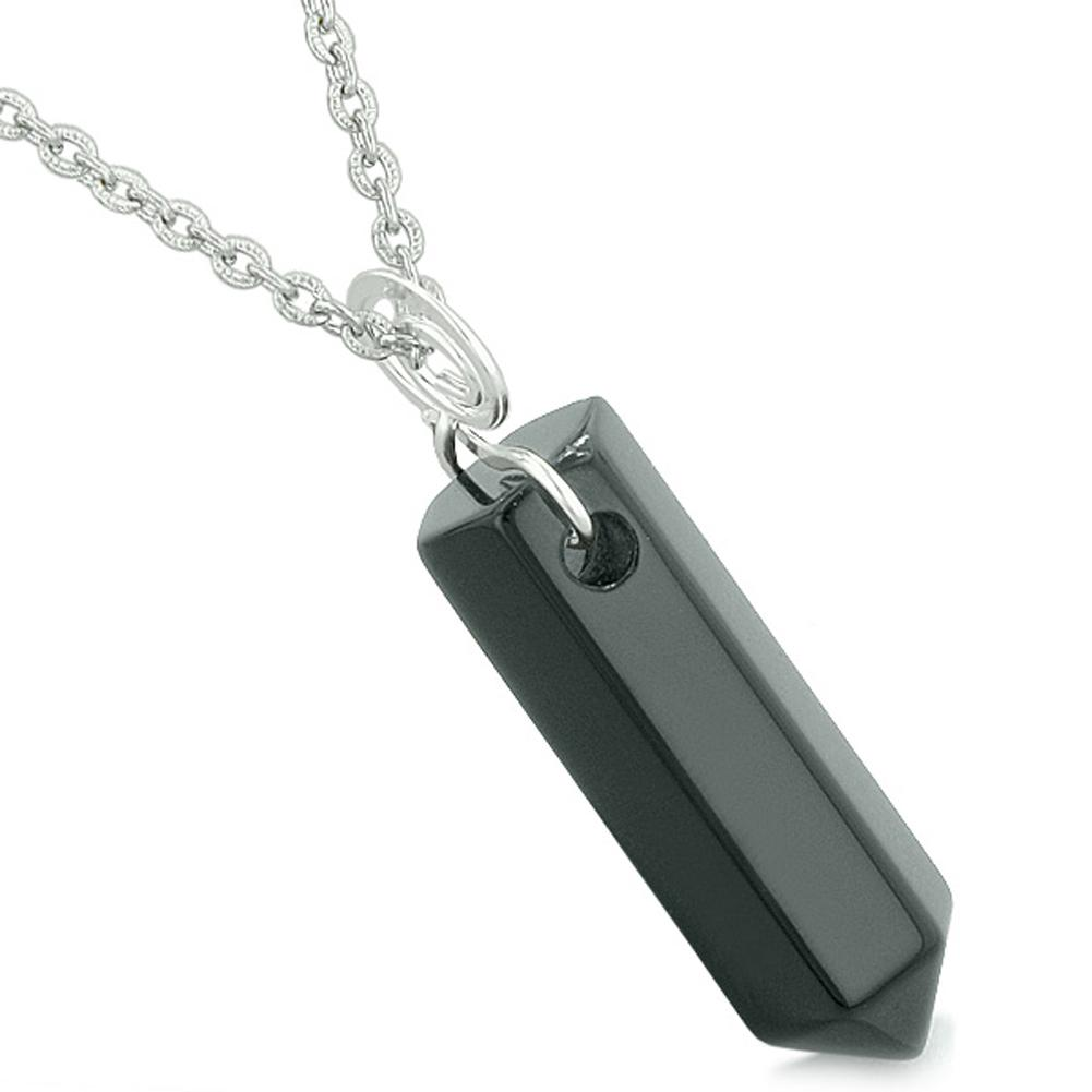 Amulet Lucky Crystal Point Spiritual Protection Powers Wand Charm Black Agate Pendant 18 inch Necklace