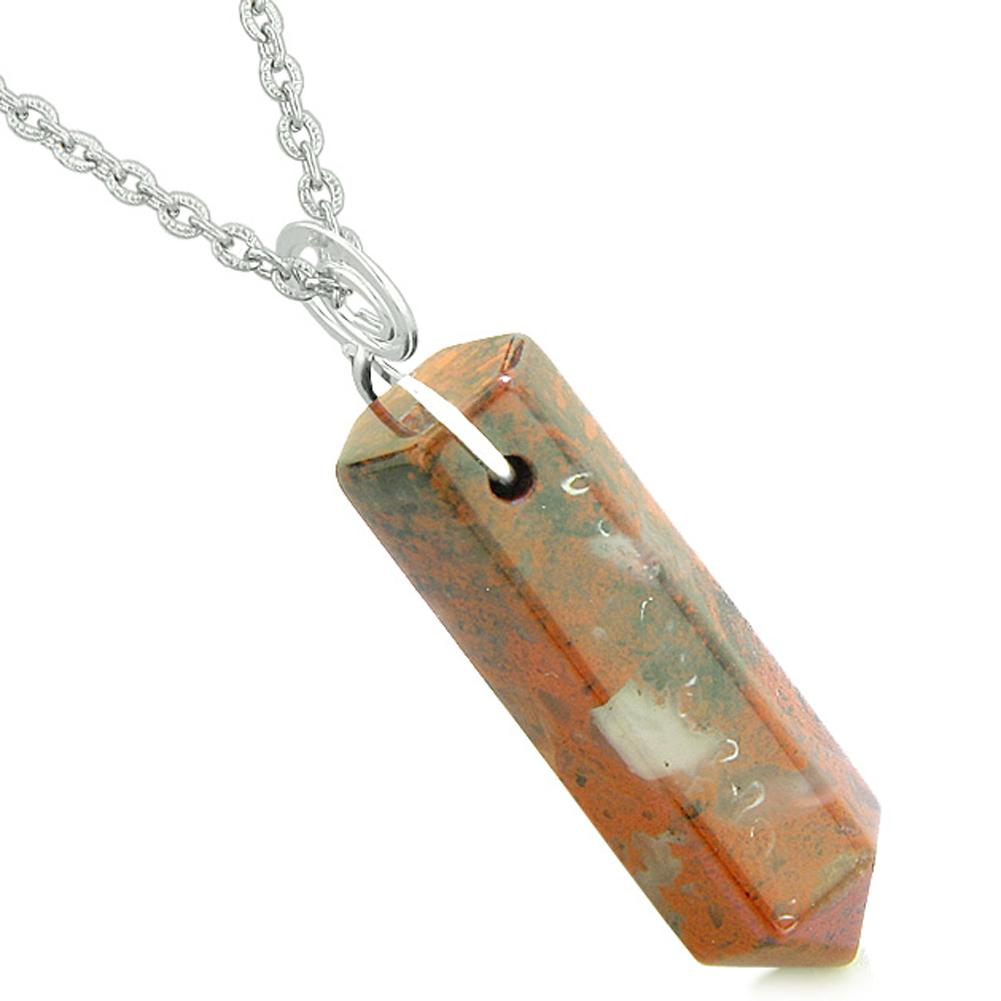 Amulet Lucky Crystal Point Spiritual Protection Powers Wand Dragon Blood Jasper Pendant 18 inch Necklace