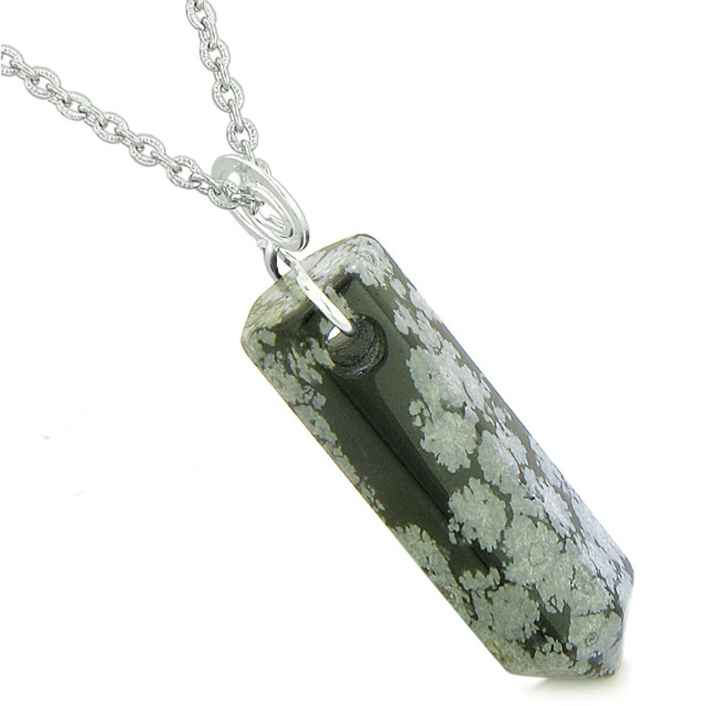 Amulet Lucky Crystal Point Spiritual Protection Powers Wand Snowflake Obsidian Pendant 18 inch Necklace