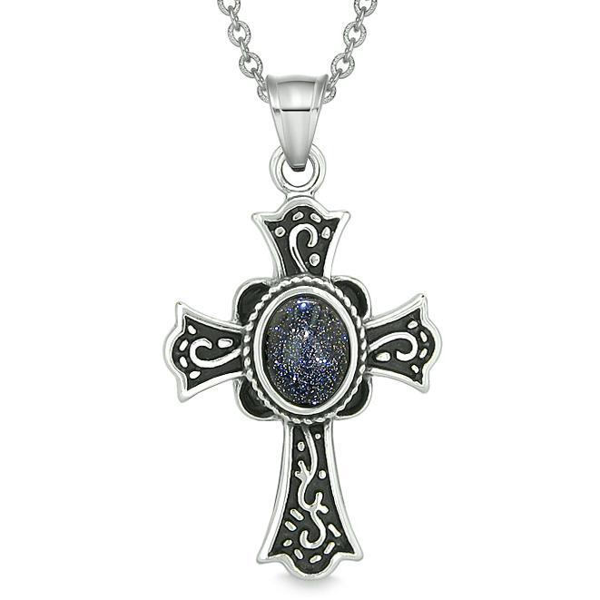 Magic Holy Cross Protection Powers Amulet Charm Blue Goldstone Pendant 18 inch Necklace