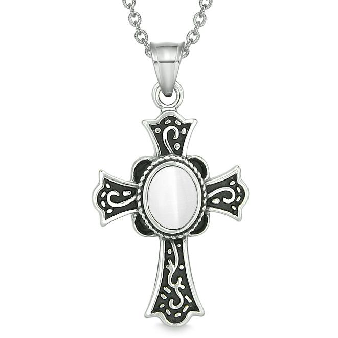 Magic Holy Cross Protection Powers Amulet Lucky Charm White Simulated Cats Eye Pendant Necklace
