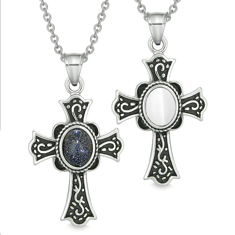 Magic Holy Cross Love Couples Best Friends Blue Goldstone White Simulated Cats Eye Magic Necklaces