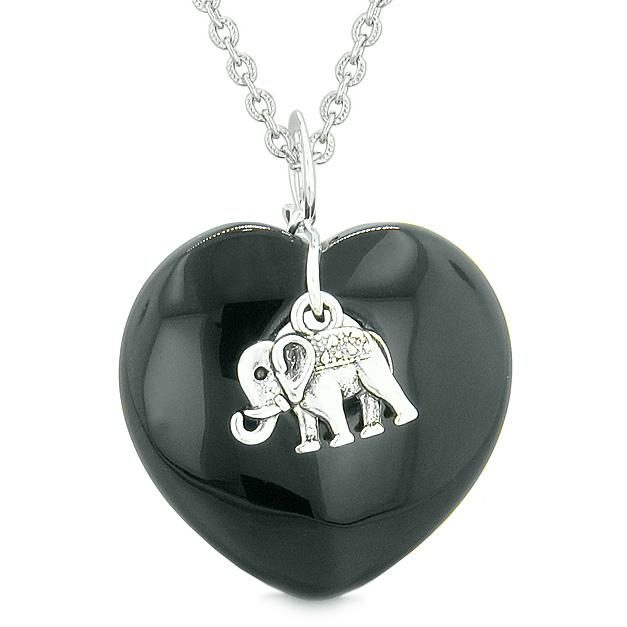 Lucky Elephant Charm Amulet Puffy Magic Powers Heart Black Agate Pendant 22 inch Necklace