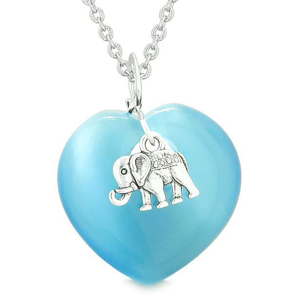 Lucky Elephant Charm Amulet Puffy Magic Powers Heart Sky Blue Simulated Cats Eye Pendant Necklace
