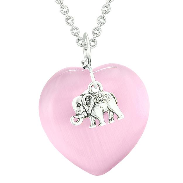 Lucky Elephant Charm Amulet Puffy Magic Powers Heart Pink Simulated Cats Eye Pendant Necklace