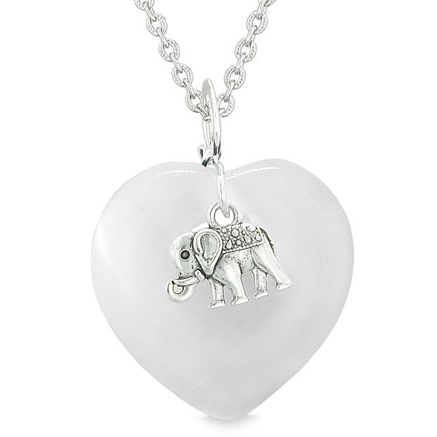 Lucky Elephant Charm Amulet Puffy Magic Powers Heart White Simulated Cats Eye Pendant Necklace