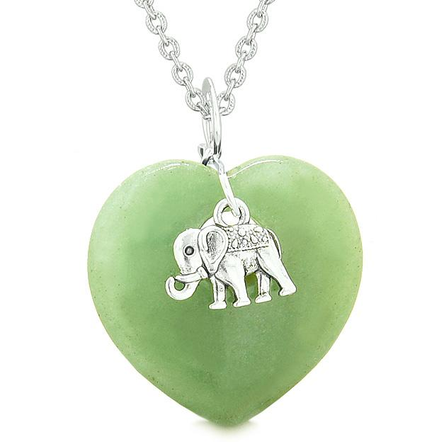 Lucky Elephant Charm Amulet Puffy Magic Powers Heart Green Quartz Pendant 22 inch Necklace