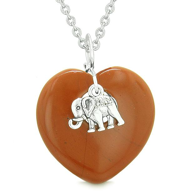 Lucky Elephant Charm Amulet Puffy Magic Powers Heart Red Jasper Pendant 22 inch Necklace
