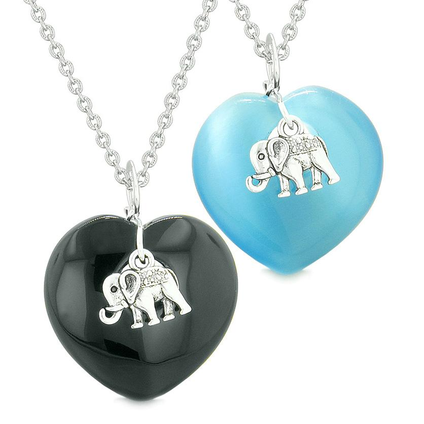 Lucky Elephant Charms Love Couples Best Friends Amulets Agate Sky Blue Simulated Cats Eye Necklaces