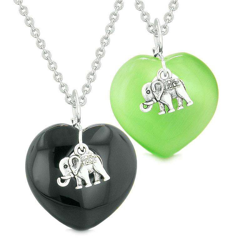 Lucky Elephant Charms Love Couple Best Friends Amulet Agate Green Simulated Cats Eye Necklaces
