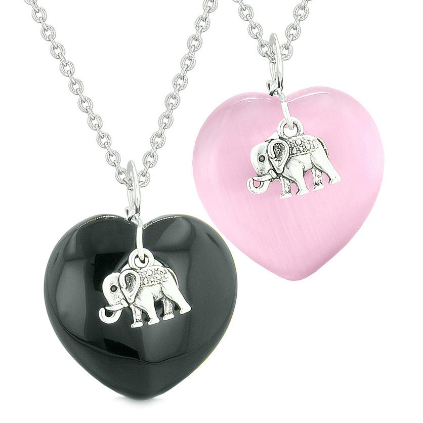 Lucky Elephant Charms Love Couples or Best Friends Amulets Agate Pink Simulated Cats Eye Necklaces