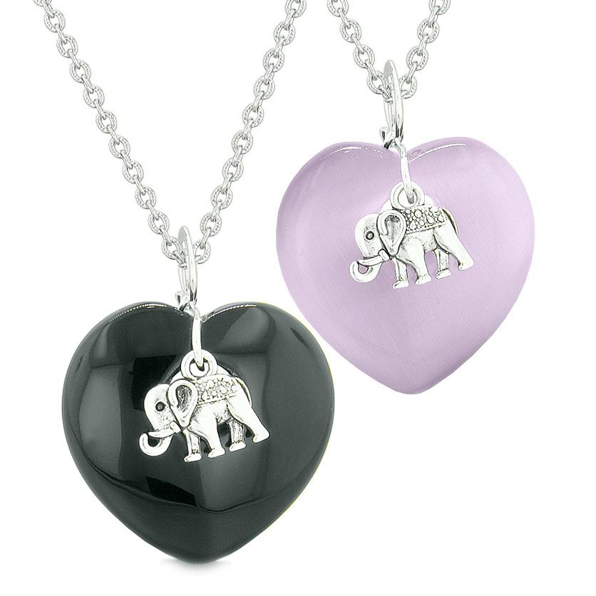 Lucky Elephant Charms Love Couple or Best Friends Amulets Agate Purple Simulated Cats Eye Necklaces