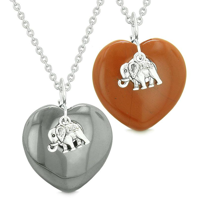 Lucky Elephant Charms Love Couples or Best Friends Amulets Hematite Red Jasper Necklaces