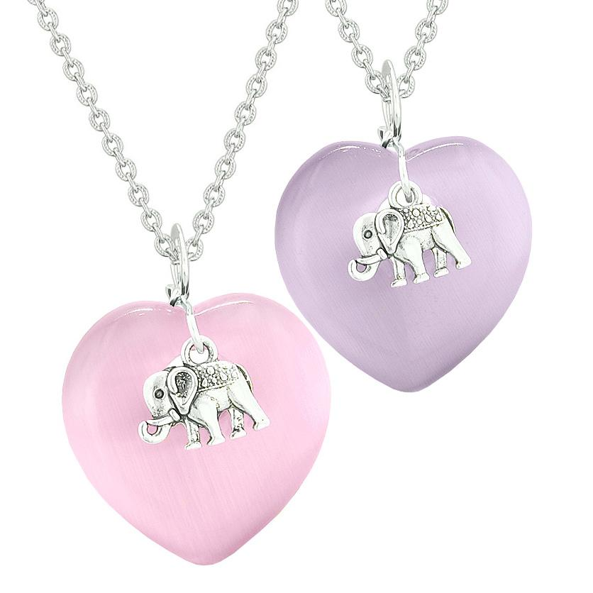 Lucky Elephant Charms Love Couples Best Friends Amulets Pink Purple Simulated Cats Eye Necklaces