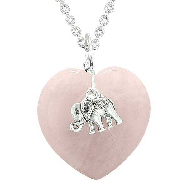 Lucky Elephant Charm Amulet Puffy Magic Powers Heart Rose Quartz Pendant 18 inch Necklace