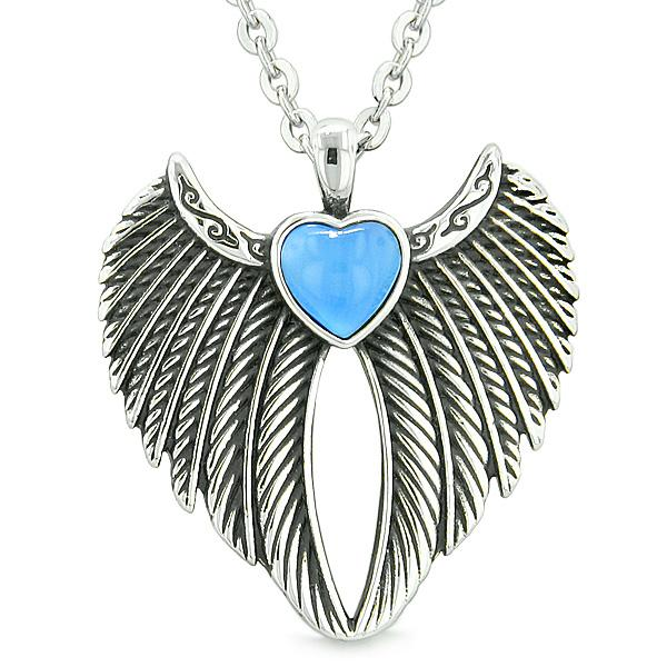 Angel Wings Magic Heart Protection Powers Amulet Aqua Blue Simulated Cats Eye Pendant Necklace