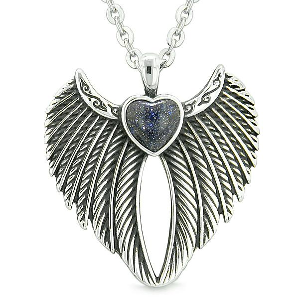 Angel Wings Magic Heart Protection Powers Amulet Blue Goldstone Pendant 22 inch Necklace