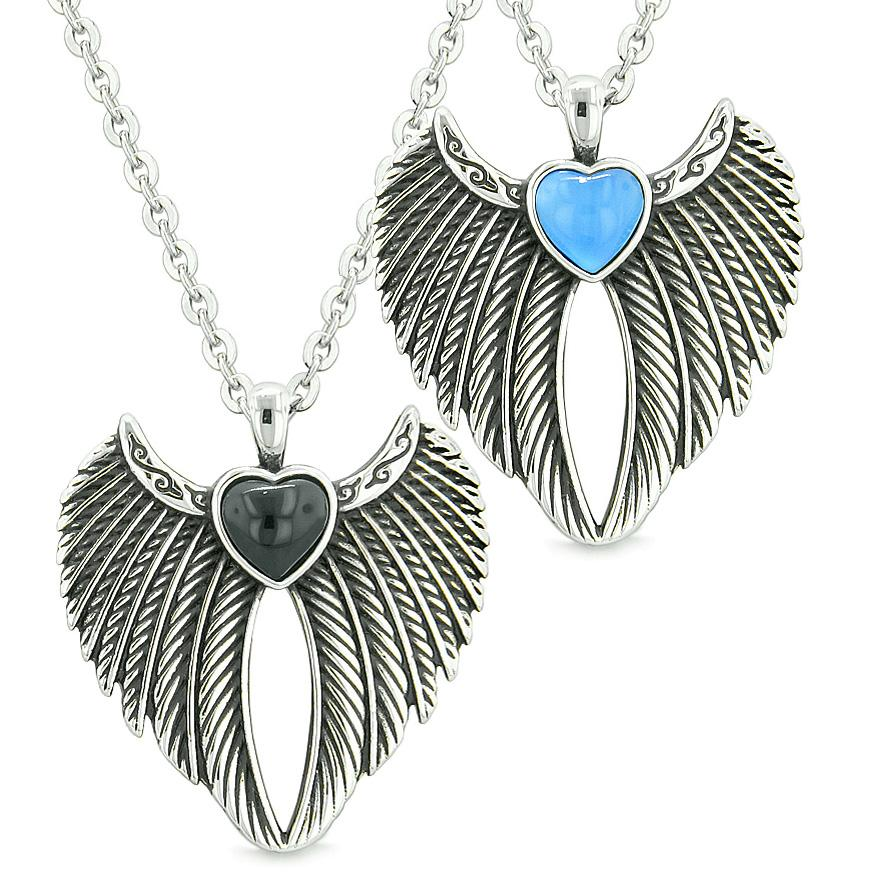Angel Wings Magic Hearts Love Couples Best Friends Simulated Onyx Aqua Simulated Cats Eye Necklaces