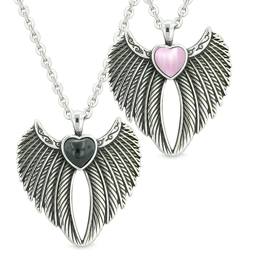 Angel Wings Magic Hearts Love Couples Best Friends Simulated Onyx Pink Simulated Cats Eye Necklaces