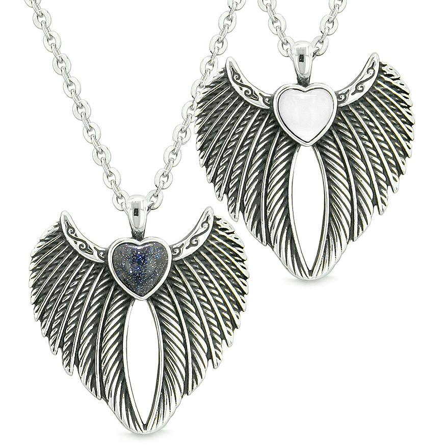 Angel Wings Magic Hearts Love Couples or Best Friends Goldstone White Simulated Cats Eye Necklaces