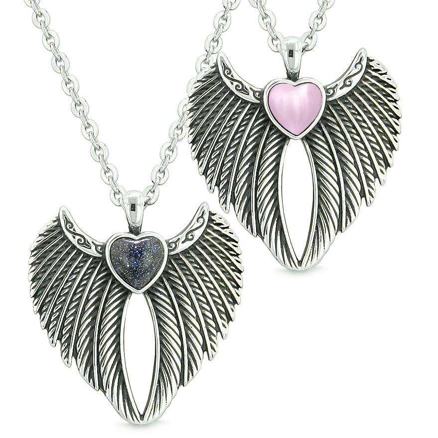 Angel Wings Magic Hearts Love Couples or Best Friends Goldstone Pink Simulated Cats Eye Necklaces