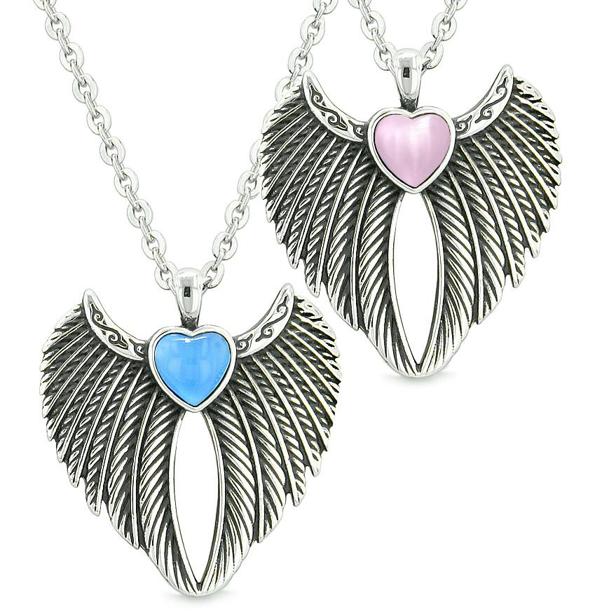 Angel Wings Magic Hearts Love Couples or Best Friends Aqua Blue Pink Simulated Cats Eye Necklaces