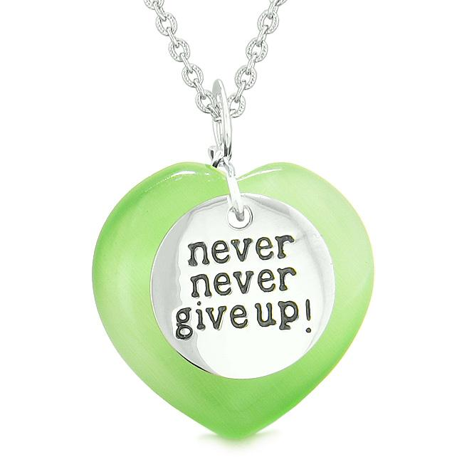 Amulet Never Give Up Inspirational Puffy Heart Green Simulated Cats Eye Pendant Necklace
