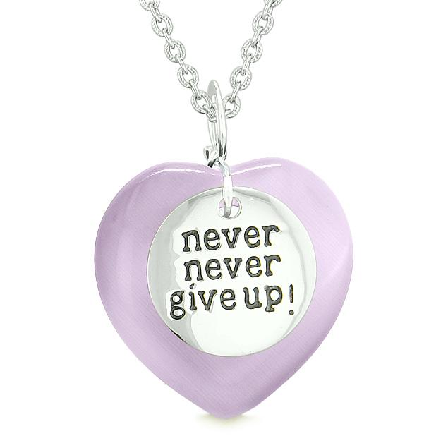 Amulet Never Give Up Inspirational Puffy Magic Heart Purple Simulated Cats Eye Pendant Necklace