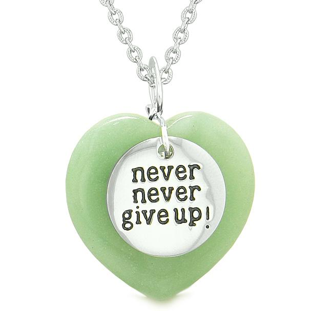Amulet Never Give Up Inspirational Puffy Magic Lucky Heart Charm Green Quartz Pendant Necklace