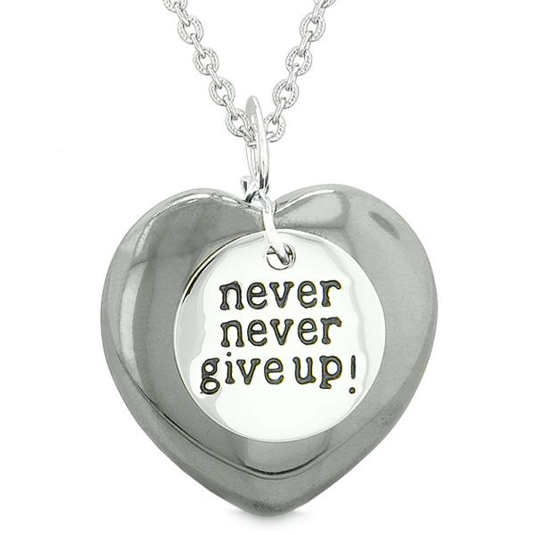 Amulet Never Give Up Inspirational Puffy Magic Lucky Heart Charm Hematite Pendant 22 inch Necklace