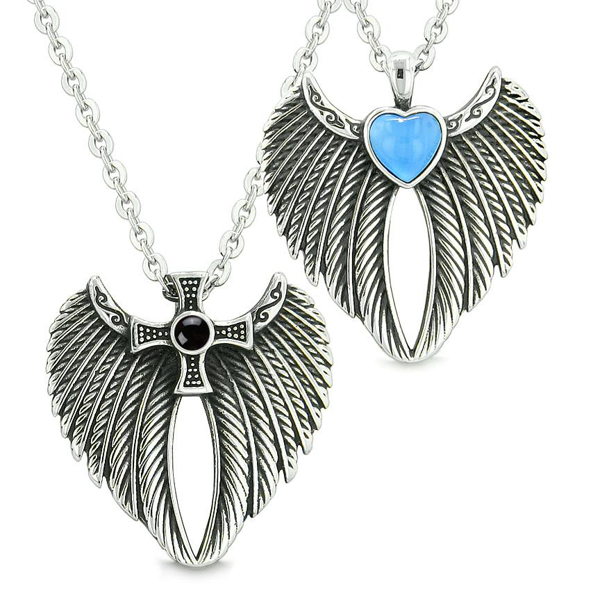 Angel Wings Heart Cross Love Couples Best Friends Simulated Onyx Blue Simulated Cats Eye Necklaces