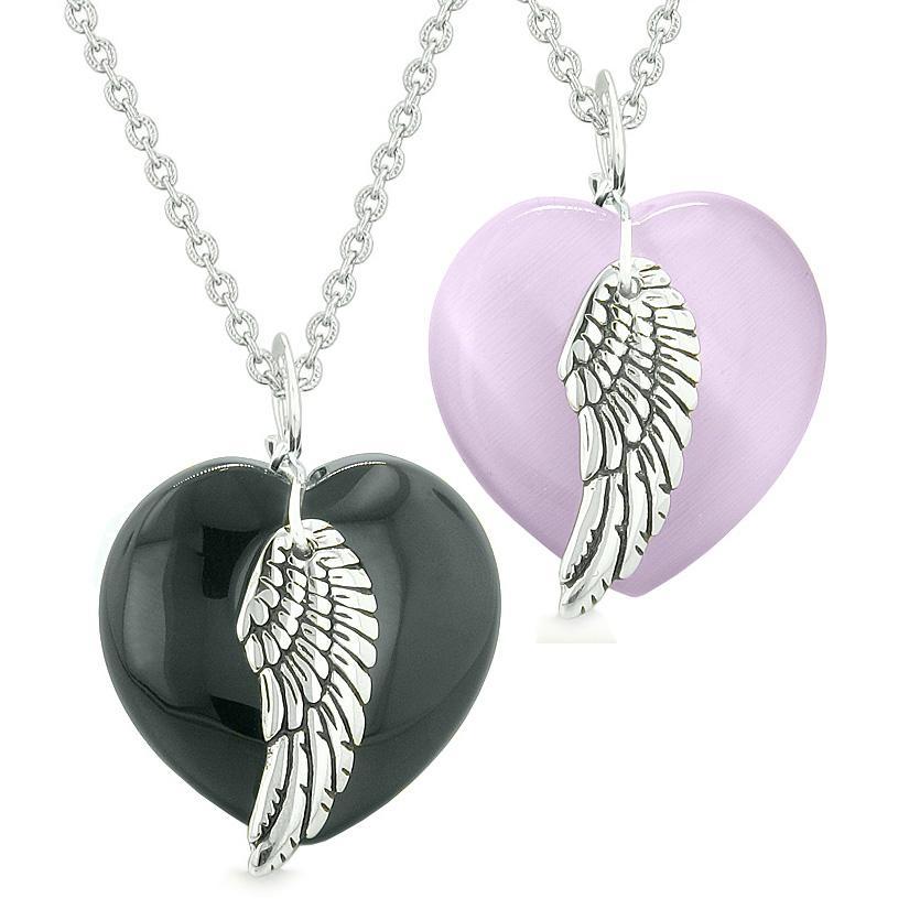 Amulets Angel Wing Hearts Love Couples or Best Friends Agate Purple Simulated Cats Eye Necklaces