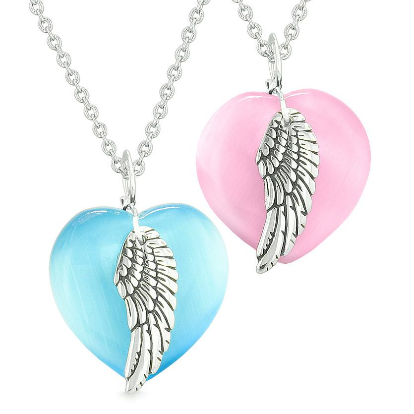 Amulets Angel Wing Hearts Love Couples or Best Friends Pink Sky Blue Simulated Cats Eye Necklaces