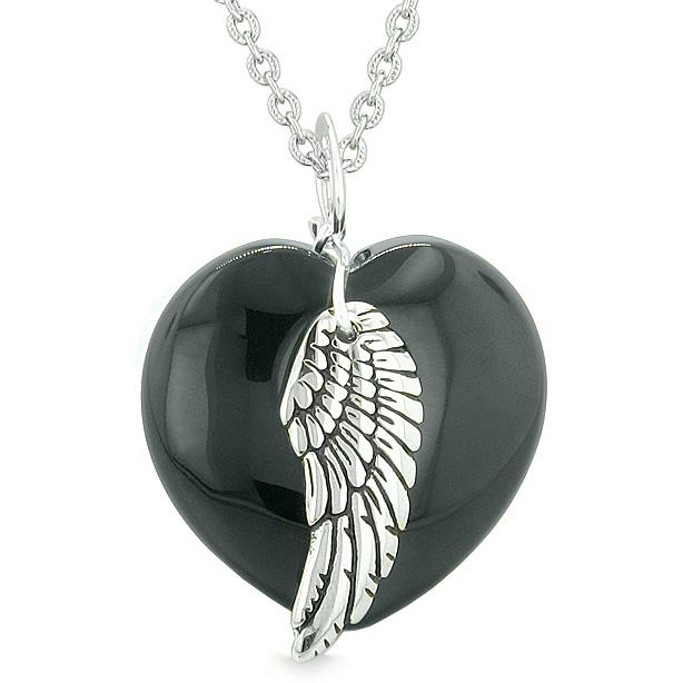 Guardian Angel Wing Inspirational Amulet Magic Puffy Heart Black Agate Pendant 22 inch Necklace