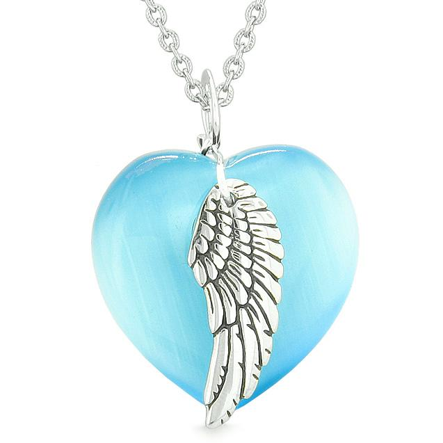 Guardian Angel Wing Inspirational Amulet Magic Heart Sky Blue Simulated Cats Eye Pendant Necklace